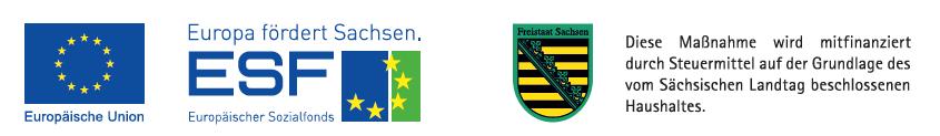 Logo ESF und Landeswappen Land Sachsen